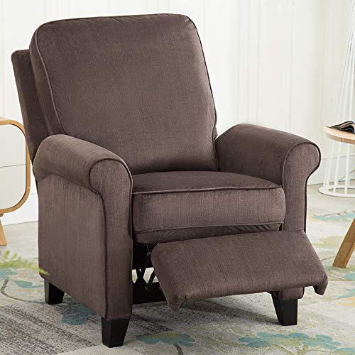 ANJ Recliner Chair Roll Arm Push Back Recliner with Back Cushion for Living Room, Chocolate