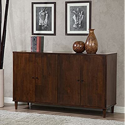 Dining Buffet 4-door Cabinet - Deep Tobacco Color - Rich and Refined - - Materials: Rubberwood Finish: Tobacco Four (4) adjustable shelves - sideboards-buffets, kitchen-dining-room-furniture, kitchen-dining-room - 51muKDja8xL. SS400  -