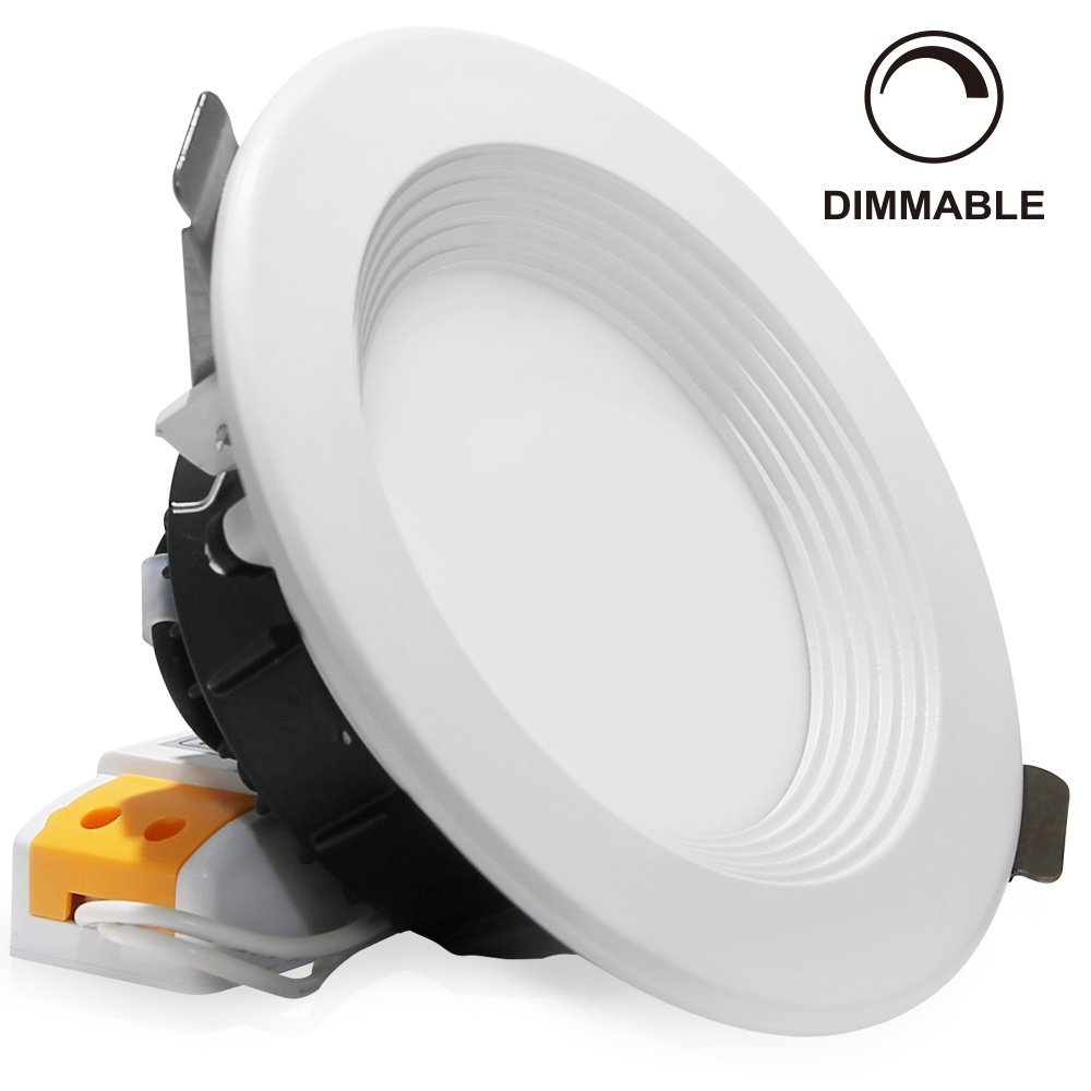 """4"""" Dimmable LED Retrofit Recessed Light, Slim Remodel LED Downlight with Reflector trim, 12W (90W Halogen Equiv.), 800lm, Frosted Glass Lens Ceiling Light, 3000K Warm White"""