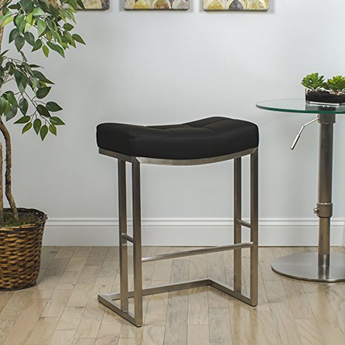 MIX Brushed Stainless Steel Faux Leather Black 26-inch Seat Height Stationary Saddle Bar Stool (26 Inch Stationary Bar Stool)
