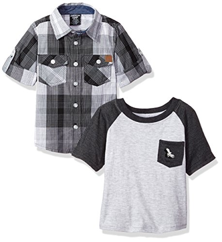 American Hawk Toddler Boys' Long Sleeve Woven Shirt and T-Shirt Set (More Styles), Multicolor Plaid-HW46, ()