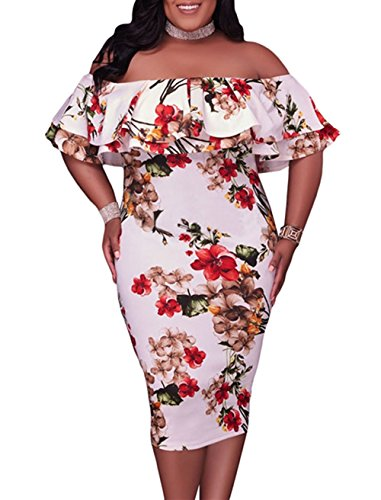 Gloria&Sarah Women's Off Shoulder Ruffle Floral Print Bodycon Plus Size Party Dress,Print,XXL
