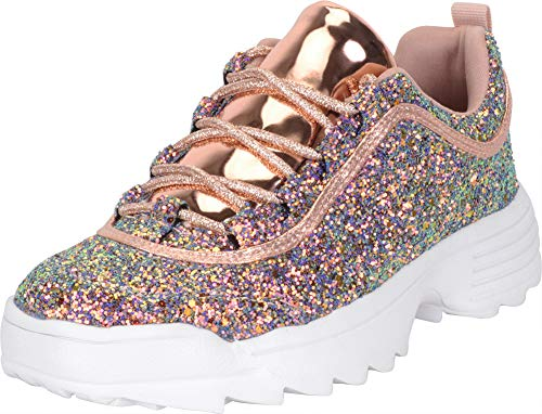 Cambridge Select Women's Low Top 90s Ugly Dad Glitter Lace-Up Chunky Fashion Sneaker,7 B(M) US,Multi