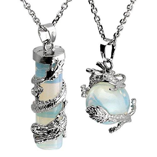 (Jovivi 2pc Dragon Wrapped Opalite Round Ball Cylinder Gemstone Healing Crystal Pendant Necklace Set)