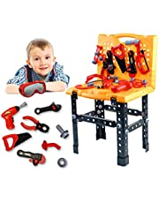 Toy Tool Kids Construction Toy Workbench Tool Model Toys for Toddlers,Kids Tool Bench Construction Set and Drill Children Toy Shop Tools Tool Workshop for Over 3 Years Old Boys and Girls (65 Pieces)
