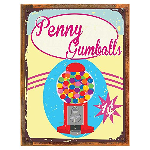 Wood-Framed Penny Gumballs Metal Sign, Retro Bubble Gum Machine for kitchen on reclaimed, rustic wood