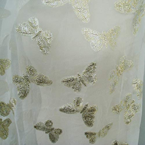 (Pukido 100% Silk Crinkle Chiffon Embroidery Lurex Butterfly - (Color: Ivory))