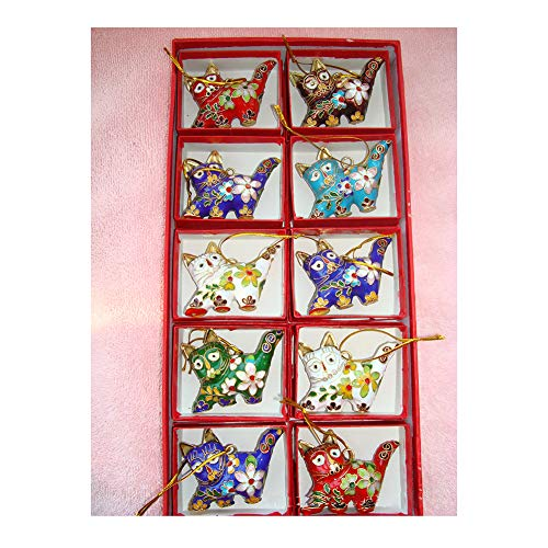 MUJING 10 Pcs Collectibles Chinese Handmade Classic Cloisonne Animal Decoration Cat Enamel Ornaments