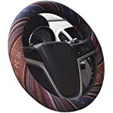 ISTN 2018 Large Ethnic Style Coarse Flax Cloth Automotive Steering Wheel Cover Anti Slip Sweat Absorption Auto Car Wrap Cover (15.25''-16'', F)