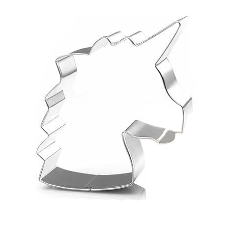 WDYJMALL - Molde para galletas con cabeza de unicornio (acero inoxidable)