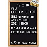 ReadyWerks Black Felt Letter Board 12x18 Inches. 12 x 18 Inch Changeable Letter Boards Include 592 White Plastic Characters w/Oak Frame