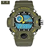 SMAEL SL1385 Men's Sports Analog Digtal Wrist Watch Dual Quartz Movement Military Time Water Resistant with Backlight (Green)