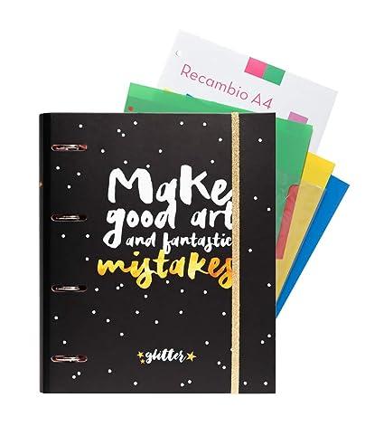 Grupo Erik Editores Glitter Stars - Carpeblock con 4 anillas, 32 x ...