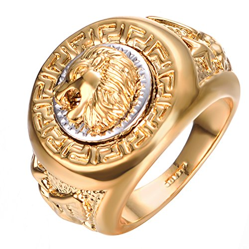 Yoursfs Lion Ring 18K Gold/Sliver Plated Hip Hop Ring Lion Ring Men's Titanium Ring