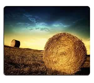 Giant Hay Bales Sunset Scenery Mouse Pads Customized Made to Order Support Ready 9 7/8 Inch (250mm) X 7 7/8 Inch (200mm) X 1/16 Inch (2mm) High Quality Eco Friendly Cloth with Neoprene Rubber Luxlady Mouse Pad Desktop Mousepad Laptop Mousepads Comfortable Computer Mouse Mat Cute Gaming Mouse pad