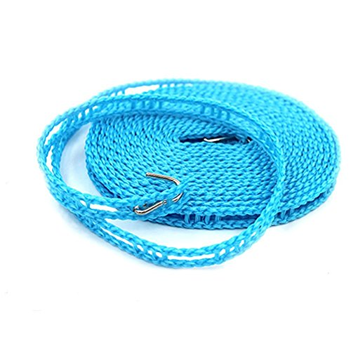 LOHOME Pack of 2 PCS Clotheslines Portable Windproof Clothesline Nylon Clothes Rope Line for Outdoor Indoor Home Travel Drying (5M/16.4ft, Blue) by LOHOME