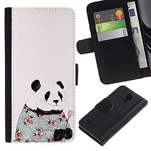 For SAMSUNG Galaxy S4 IV / i9500 / i9515 / i9505G / SGH-i337,S-type® Absurd Pink Fashion Flowers Happy - Dibujo PU billetera de cuero Funda Case Caso de la piel de la bolsa protectora
