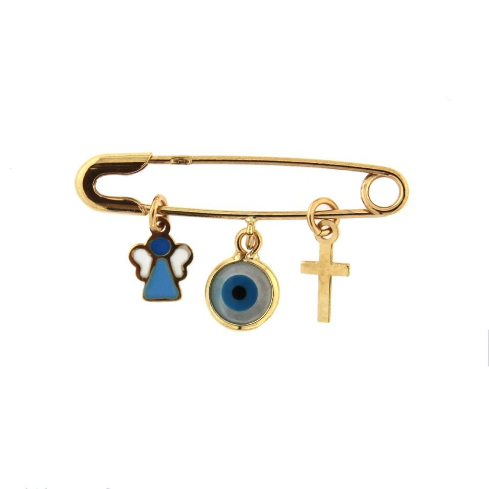 18k Yellow Gold Cross Eye and enamel Angel Safety Pin L 1.20 inch