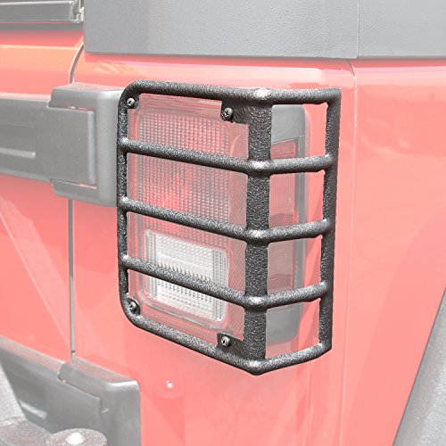 E-Autogrilles Black Rear Euro Tail Light Guard for 07-17 Jeep Wrangler JK (51-0460)