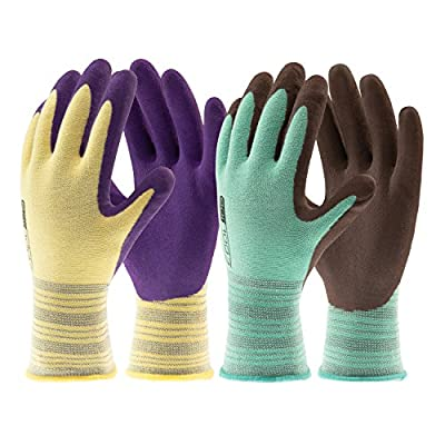 COOLJOB Gardening Gloves for Women and Men, Garden and Work Gloves with Foam Rubber Coating, Assorted Colors, 2 Pairs