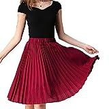 TEERFU Womens Skirt Knee Length Pleated A-line Midi Skirts Elasic Waist Skater Falred Solid Dress