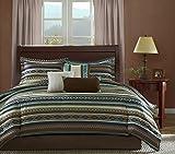 7 Piece Blue Brown White Southwest Comforter King Cal Set, Native American Southwestern Bedding, Horizontal Tribal Stripes Geometric Motifs Lodge, Indian Themed Pattern, Aztec Western Color Tan Teal