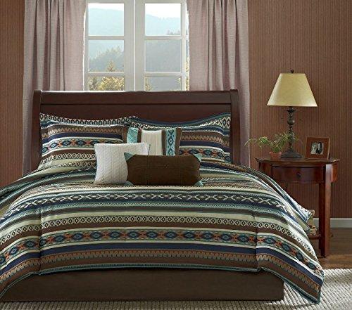 7 Piece Blue Brown White Southwest Comforter King Cal Set, N