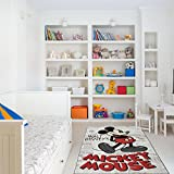 Walt Disney Mickey Mouse Design Kids Area Rug, Graphic Playful Animals Themed, Rectangle Indoor Living Room Doorway Hallway Bedroom Carpet, Vintage Trendy Artwork Pattern, Black, Red, Size 4'6 x 6'6