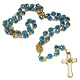 St Benedict Gold Plated Blue Crystals Rosary Beads Miraculous Medal Catholic
