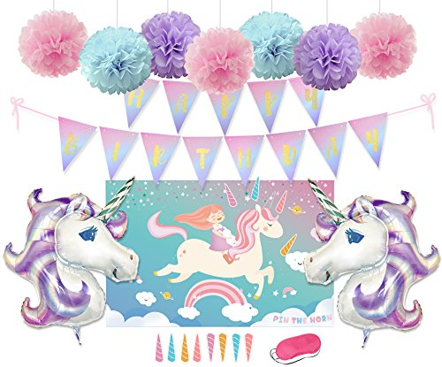 Kreatwow Unicorn Party Decorations Pin The Horn On The Unicorn Game Tissue Paper Pom Poms Unicorn Foil Balloons Glitter Bunting Banner for Unicorn Party Supplies