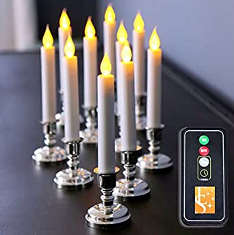 Amazon Com Set Of 10 Flameless White Taper Window Candles