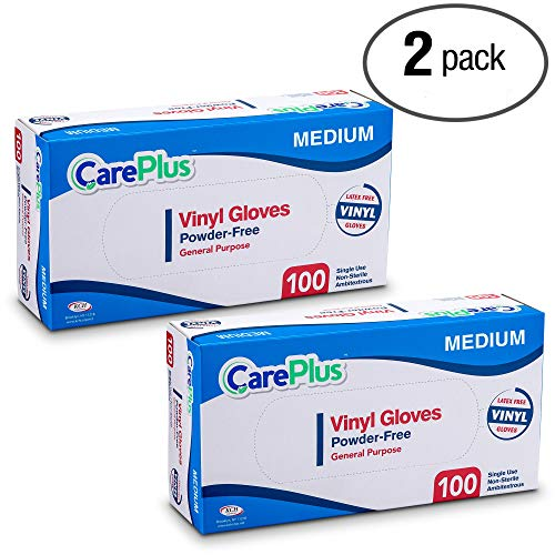 Care Plus Disposable Vinyl Gloves, Powder Free, Clear, Latex Free, Allergy Free, Medium, 100 Gloves In A Box Pack of 2 by Care Plus