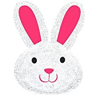 "Egg-stra Adorable Deluxe Tinsel Easter Bunny Face Party Decoration, 11"" x 14"""