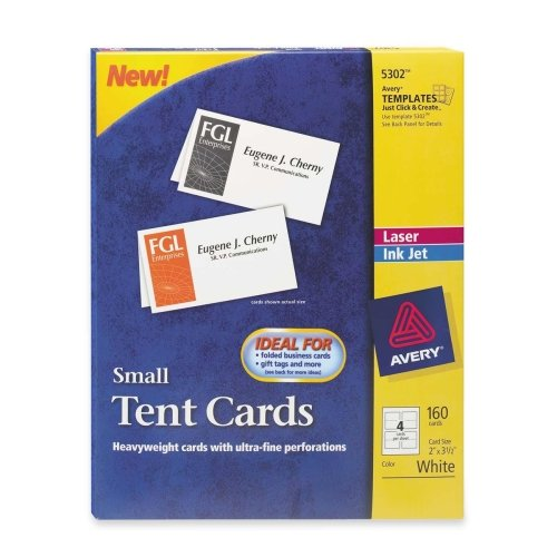 Wholesale CASE of 10 - Avery Laser/Inkjet Embossed Tent Cards-Laser/Inkjet Tent Cards,Small,Perforated,2''x3-1/2'',160/BX,WE by AVE