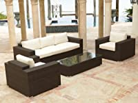 Source Outdoor King Wicker 4 Piece Sofa Conversation Set by Source Outdoor