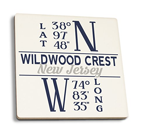 - Lantern Press Wildwood Crest, New Jersey - Latitude and Longitude (Blue) (Set of 4 Ceramic Coasters - Cork-Backed, Absorbent)