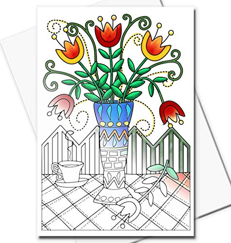 Art Eclect Adult Coloring Greeting Cards for Birthdays and Thank You Note Cards   10 Unique Designs to Color and Send   With Envelopes Included   Set From The Garden