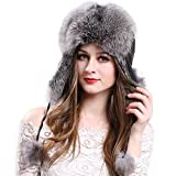 Manka Vesa Women's Real Fox Fur Hats Sheep Leather Earmuffs Warm Winter Hats Dark Grey