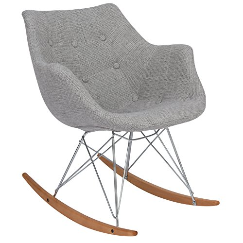 LeisureMod Willow Fabric Eiffel Base Modern Petite Rocking Chair in Grey by LeisureMod