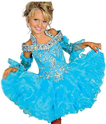 AVDA Infant Girls' Bateau Kids Gowns Pageant Cupcake Dresses 6 US Turquoise -