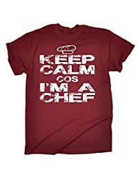 123t Men's Keep Calm Cos I'm A Chef T-SHIRT Funny Christmas Casual Birthday Tee