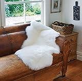 A-STAR White Real Sheepskin Rug 2x3 - Single Pelt  Sheep Skin Fur Rug