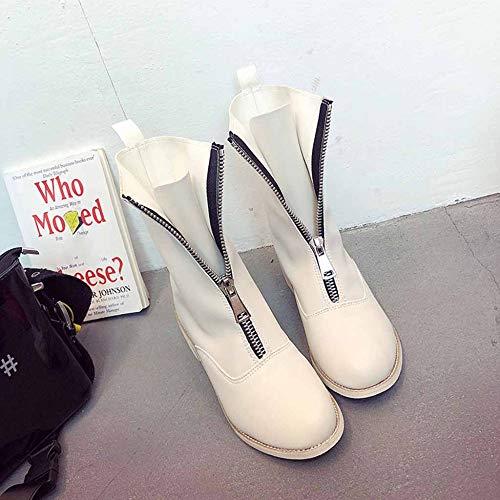Studenti Pelle Donna Antiscivolo Comodi Martin Da White In Stivali Con Cerniera Per Stivaletti Hx0qwP