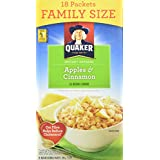 Instant Quaker Oats Oatmeal-Apple Cinnamon Family Pack, 18-Count