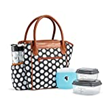 Fit & Fresh Stamford Lunch Kit for Women, with BPA-Free Food Containers and Matching Water Bottle, Black Double Dot