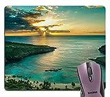 Knseva Hawaiian Scene Mouse Pad, Sunrise Over Hanauma Bay Oahu Hawaii Sunbeams Through Clouds Shoreline Landscape Mouse Pads