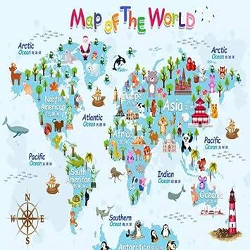 Amazon.com: Hand Drawn Cartoon Animal World map Wallpaper Children\'s ...
