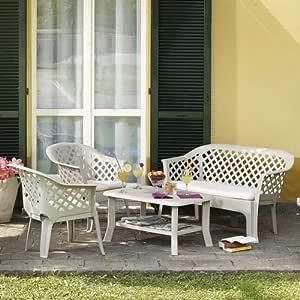 SATURNIA Ipae-Progarden - Juego de Muebles de jardín Compuesto por un Banco, Dos sillones y una Mesa, con Cojines Blancos, Modelo Veranda: Amazon.es: Jardín