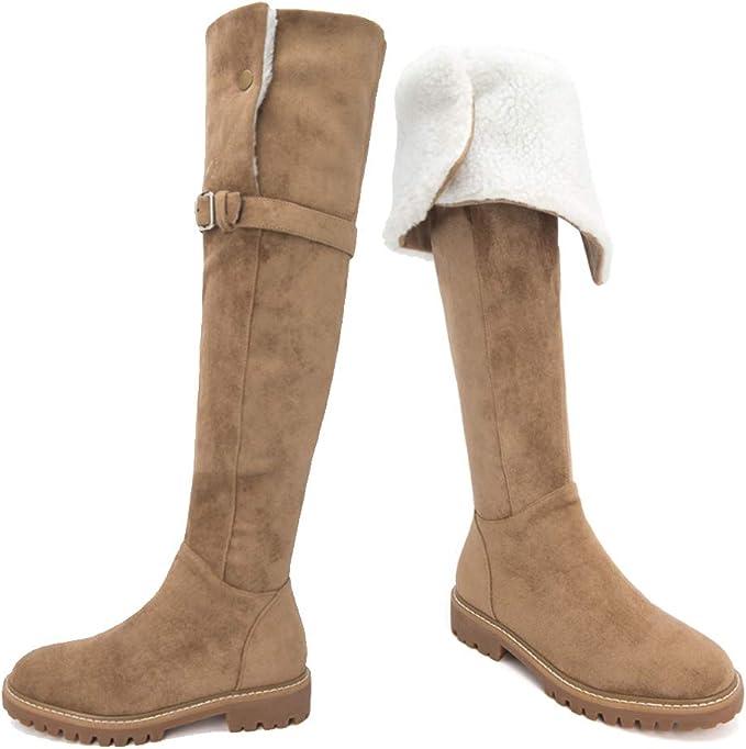 YQSHOES Piel De Cordero De Invierno, Zapatos De Mujer, Botas