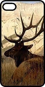 taoyix diy Big Elk On Grassy Plain Black Plastic Case for Apple iPhone 5c